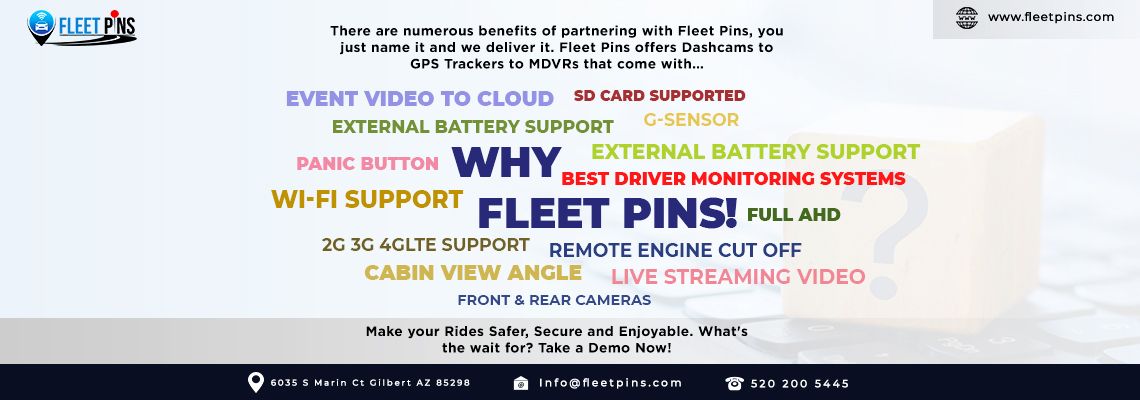 features of Fleet Pins Dash Cams & GPS Tracking Devices